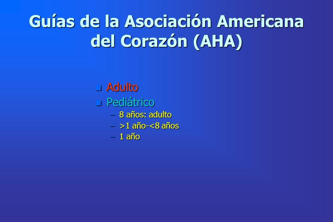 Guías de la Asociación Americana del Corazón (AHA) n Adulto n Pediátrico –8 años: adulto –>1 año- 1 año-<8 años –1 año