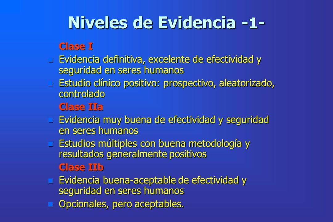 Niveles de Evidencia - 1 - Clase I Clase I n Evidencia definitiva, excelente de efectividad y seguridad en seres humanos n Estudio clínico positivo: p