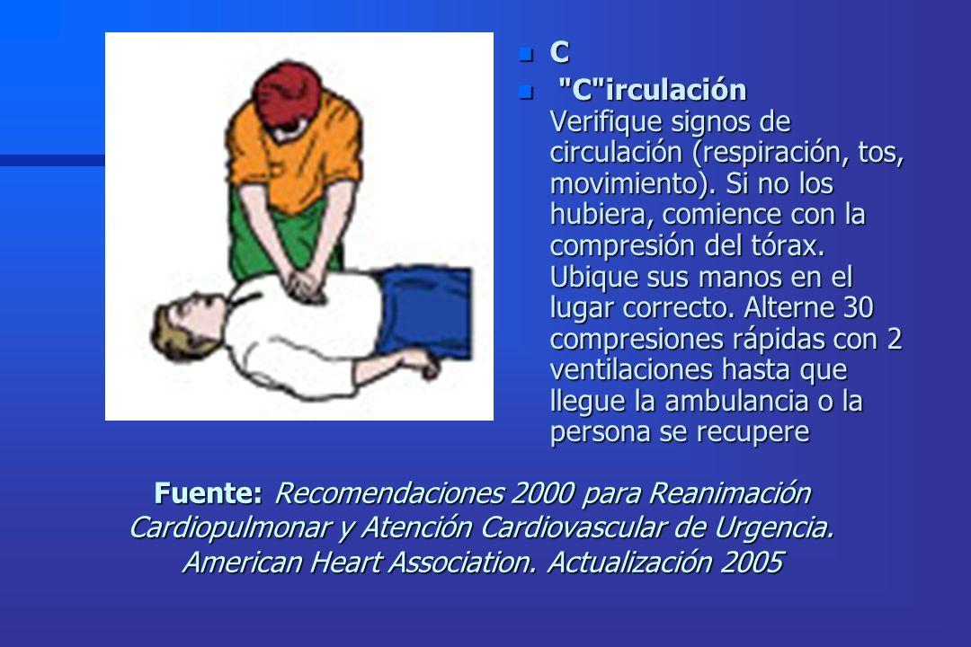 Fuente: Recomendaciones 2000 para Reanimación Cardiopulmonar y Atención Cardiovascular de Urgencia. American Heart Association. Actualización 2005 n C