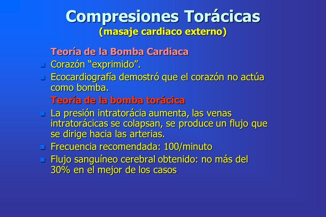 Compresiones Torácicas (masaje cardiaco externo) Teoría de la Bomba Cardiaca Teoría de la Bomba Cardiaca n Corazón exprimido. n Ecocardiografía demost