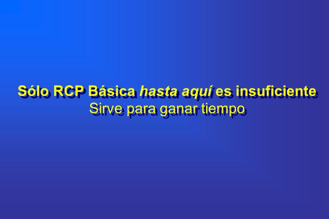 Sólo RCP Básica hasta aquí es insuficiente Sirve para ganar tiempo Sólo RCP Básica hasta aquí es insuficiente Sirve para ganar tiempo