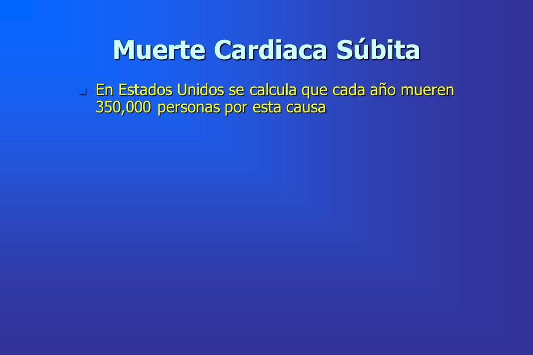 Muerte Cardiaca Súbita n En Estados Unidos se calcula que cada año mueren 350,000 personas por esta causa