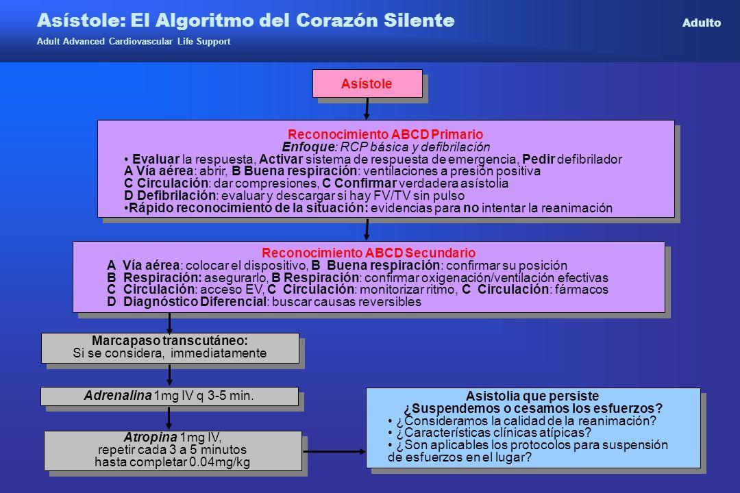Asístole: El Algoritmo del Corazón Silente Adulto Adult Advanced Cardiovascular Life Support Asístole Reconocimiento ABCD Primario Enfoque: RCP básica