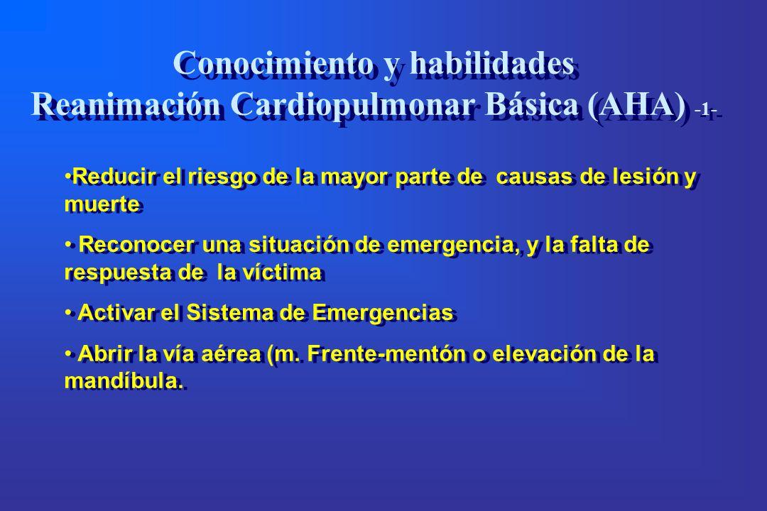Reducir el riesgo de la mayor parte de causas de lesión y muerte Reconocer una situación de emergencia, y la falta de respuesta de la víctima Activar