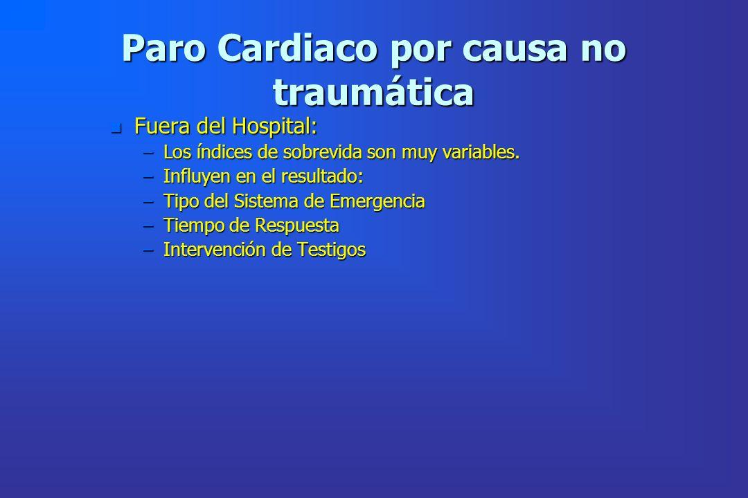 Paro Cardiaco por causa no traumática n Fuera del Hospital: –Los índices de sobrevida son muy variables. –Influyen en el resultado: –Tipo del Sistema
