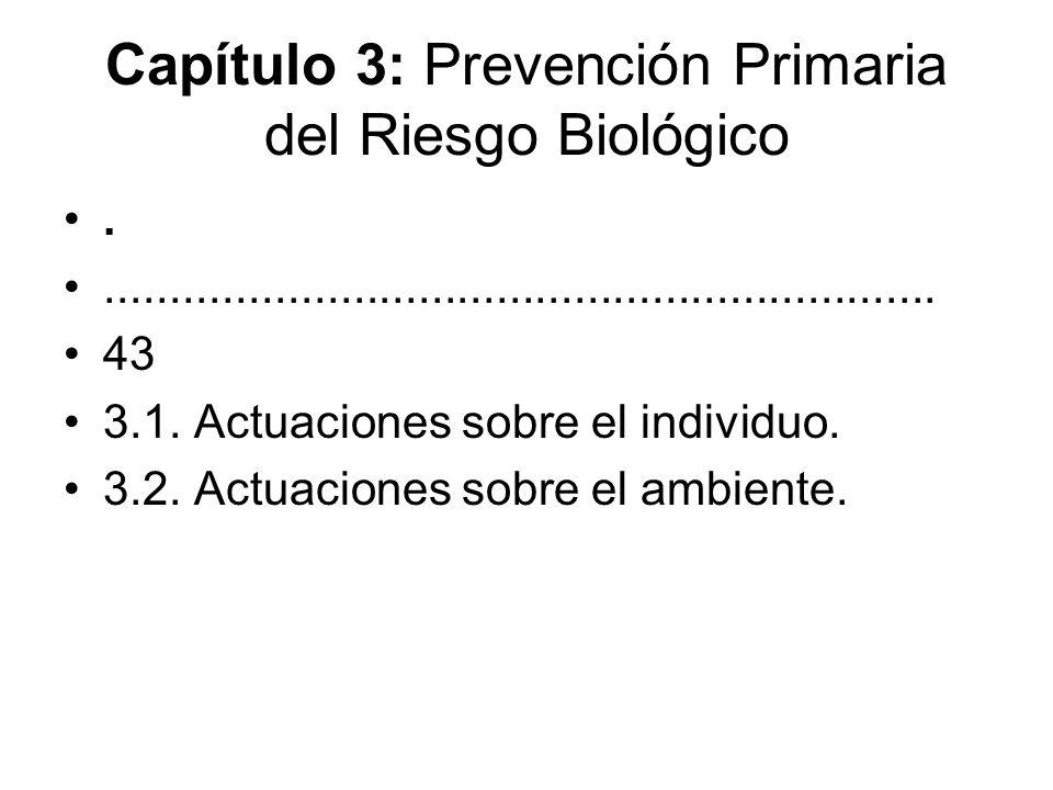 Capítulo 4: Prevención Secundaria del Riesgo Biológico...........................................................