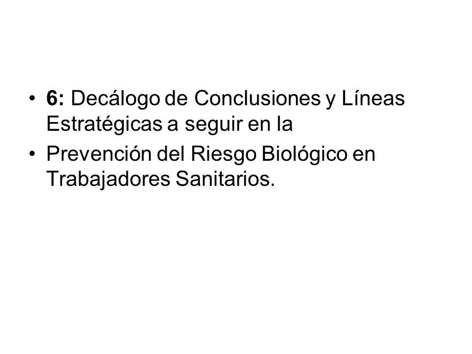 6: Decálogo de Conclusiones y Líneas Estratégicas a seguir en la Prevención del Riesgo Biológico en Trabajadores Sanitarios.