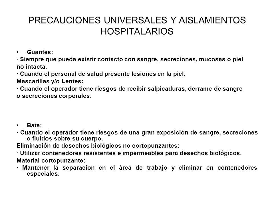 PRECAUCIONES UNIVERSALES Y AISLAMIENTOS HOSPITALARIOS Guantes: · Siempre que pueda existir contacto con sangre, secreciones, mucosas o piel no intacta