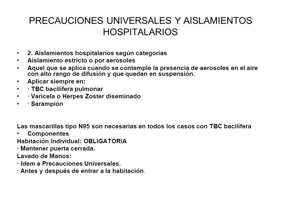 PRECAUCIONES UNIVERSALES Y AISLAMIENTOS HOSPITALARIOS 2. Aislamientos hospitalarios según categorías Aislamiento estricto o por aerosoles Aquel que se