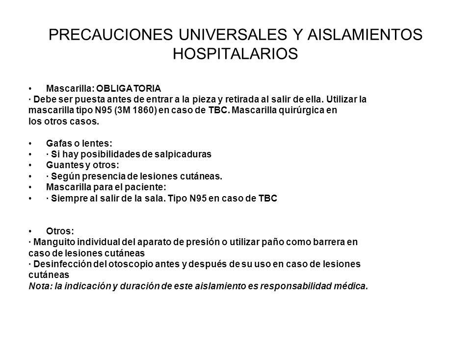 PRECAUCIONES UNIVERSALES Y AISLAMIENTOS HOSPITALARIOS Mascarilla: OBLIGATORIA · Debe ser puesta antes de entrar a la pieza y retirada al salir de ella