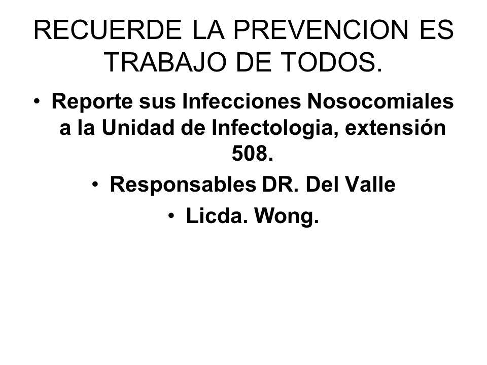 RECUERDE LA PREVENCION ES TRABAJO DE TODOS. Reporte sus Infecciones Nosocomiales a la Unidad de Infectologia, extensión 508. Responsables DR. Del Vall