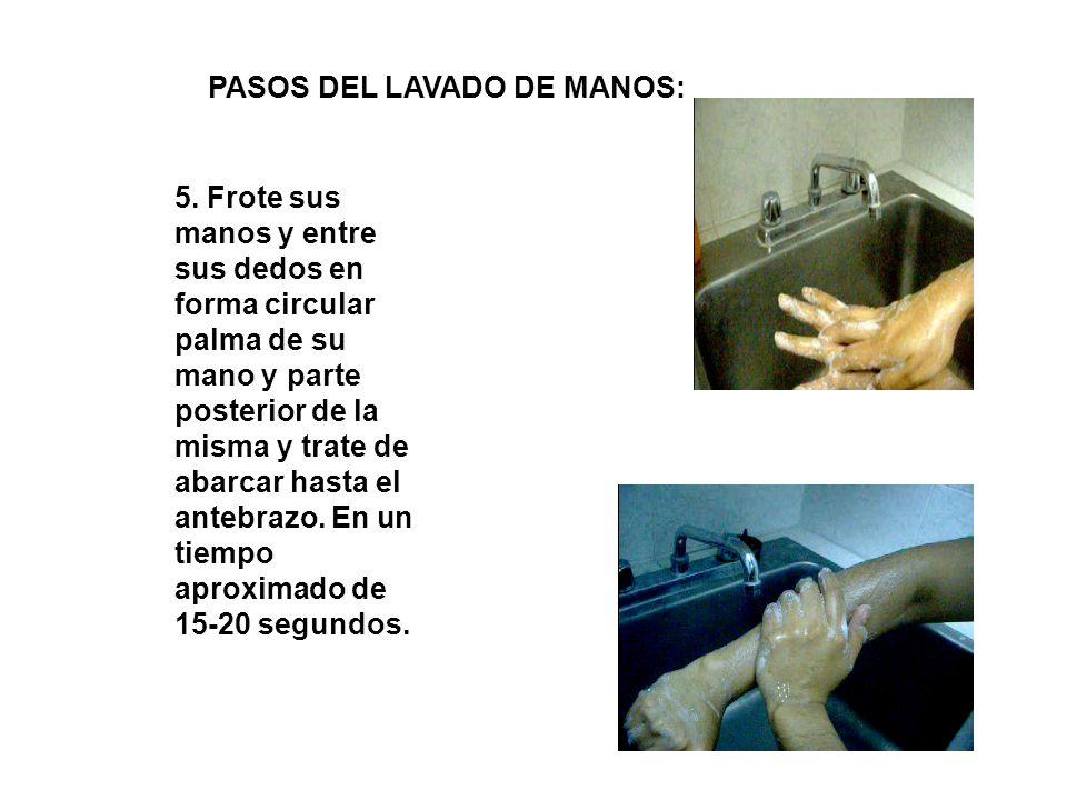5. Frote sus manos y entre sus dedos en forma circular palma de su mano y parte posterior de la misma y trate de abarcar hasta el antebrazo. En un tie