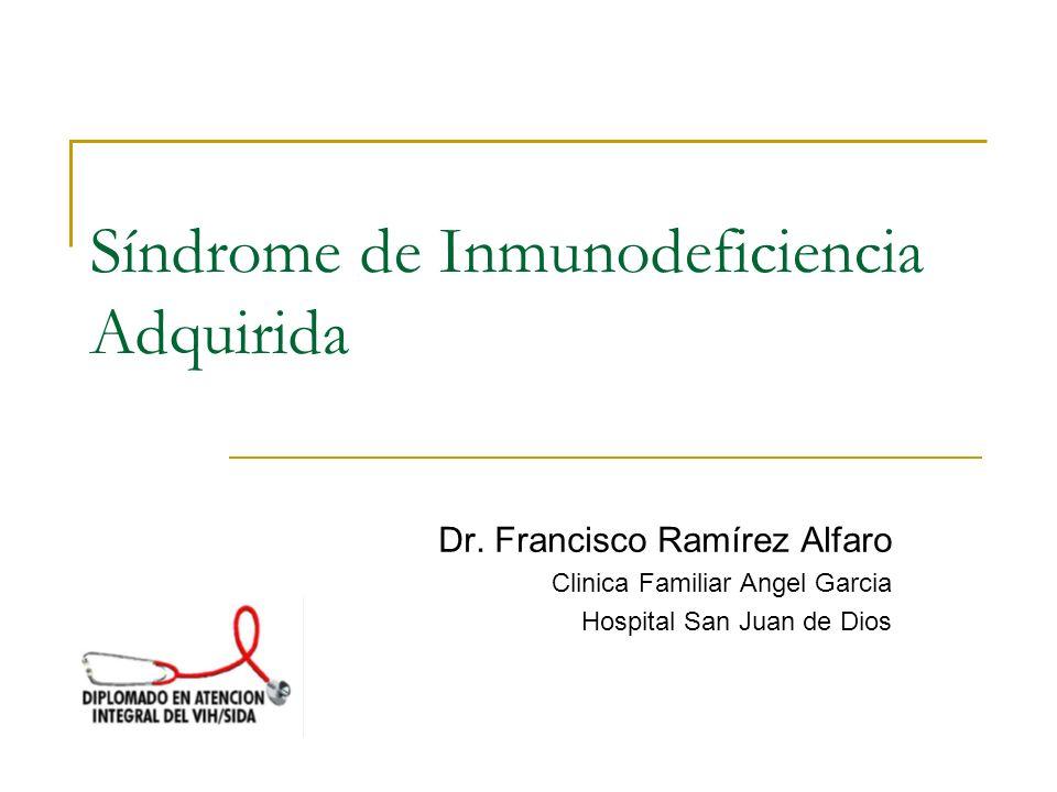 Síndrome Retroviral Agudo Afecta al 40-90% de pacientes 14,000 nuevos casos/día en el mundo Dx diferencial en fiebre, rash maculopapular y linfadenopatía.