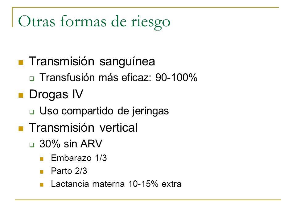 Otras formas de riesgo Transmisión sanguínea Transfusión más eficaz: 90-100% Drogas IV Uso compartido de jeringas Transmisión vertical 30% sin ARV Emb