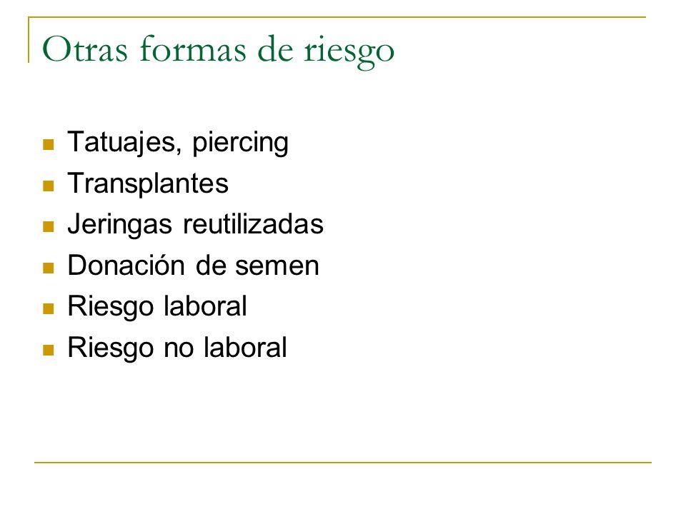 Otras formas de riesgo Tatuajes, piercing Transplantes Jeringas reutilizadas Donación de semen Riesgo laboral Riesgo no laboral