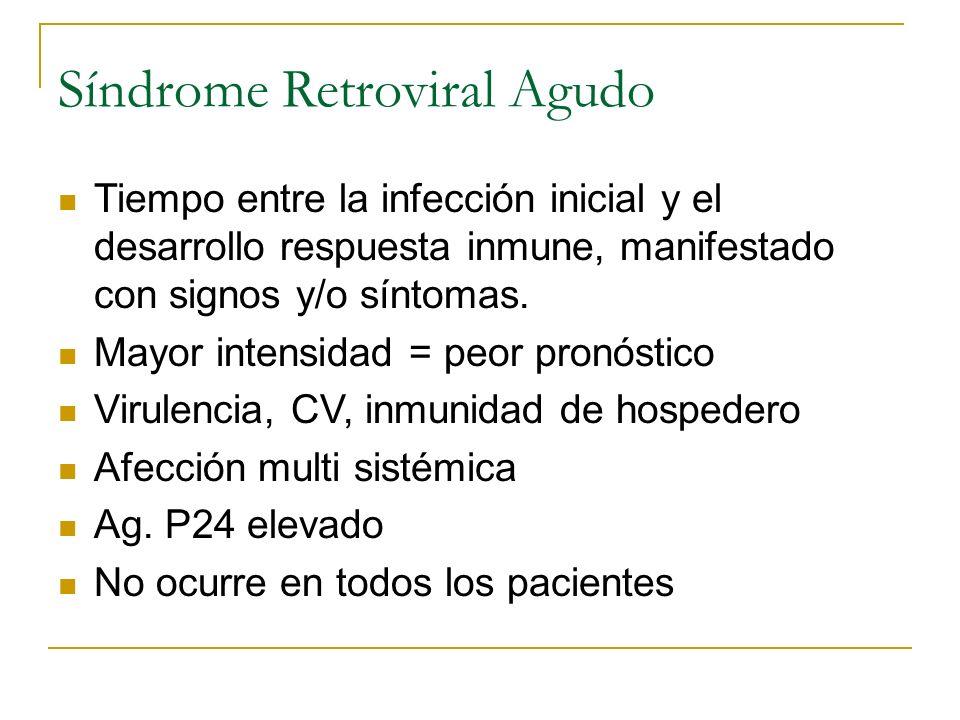 Síndrome Retroviral Agudo Tiempo entre la infección inicial y el desarrollo respuesta inmune, manifestado con signos y/o síntomas. Mayor intensidad =