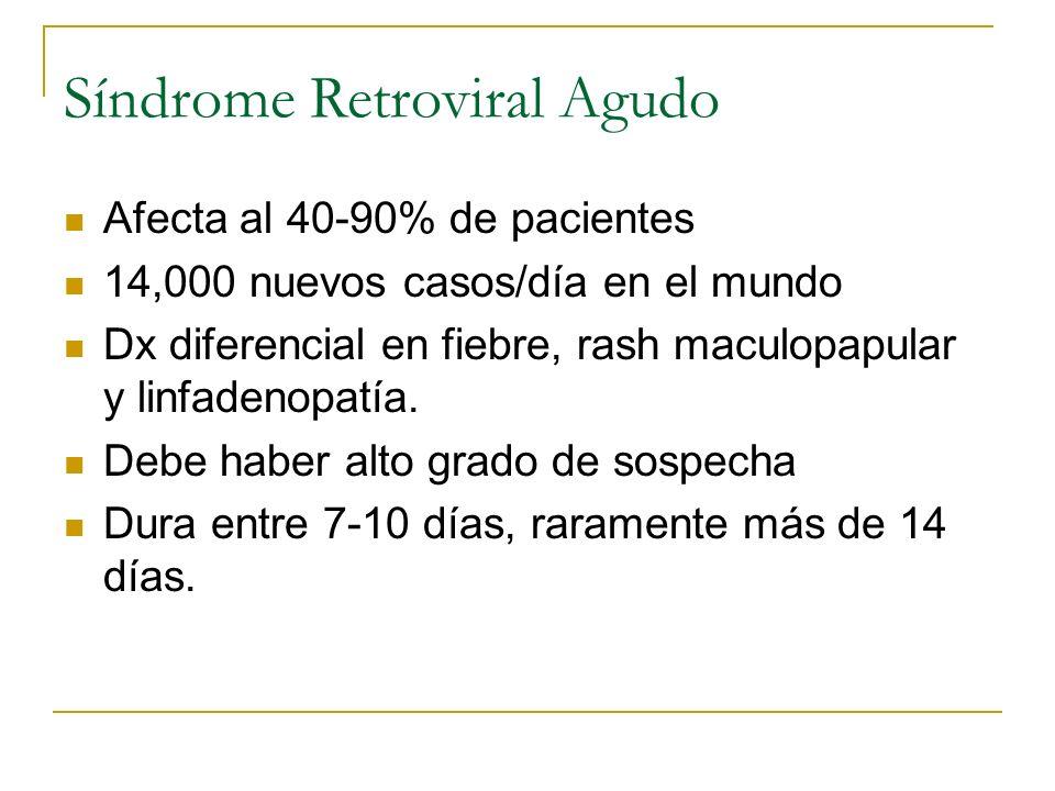 Síndrome Retroviral Agudo Afecta al 40-90% de pacientes 14,000 nuevos casos/día en el mundo Dx diferencial en fiebre, rash maculopapular y linfadenopa
