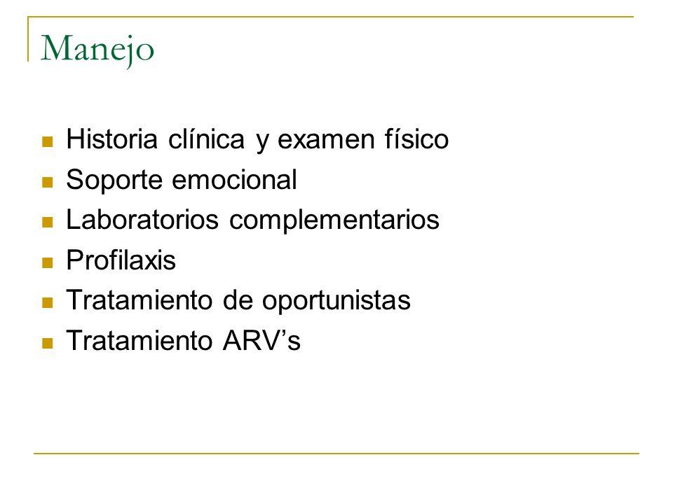 Manejo Historia clínica y examen físico Soporte emocional Laboratorios complementarios Profilaxis Tratamiento de oportunistas Tratamiento ARVs