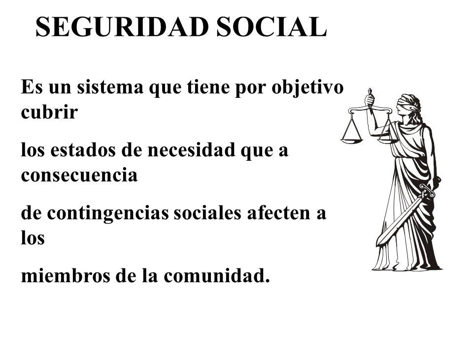 Es un sistema que tiene por objetivo cubrir los estados de necesidad que a consecuencia de contingencias sociales afecten a los miembros de la comunidad.