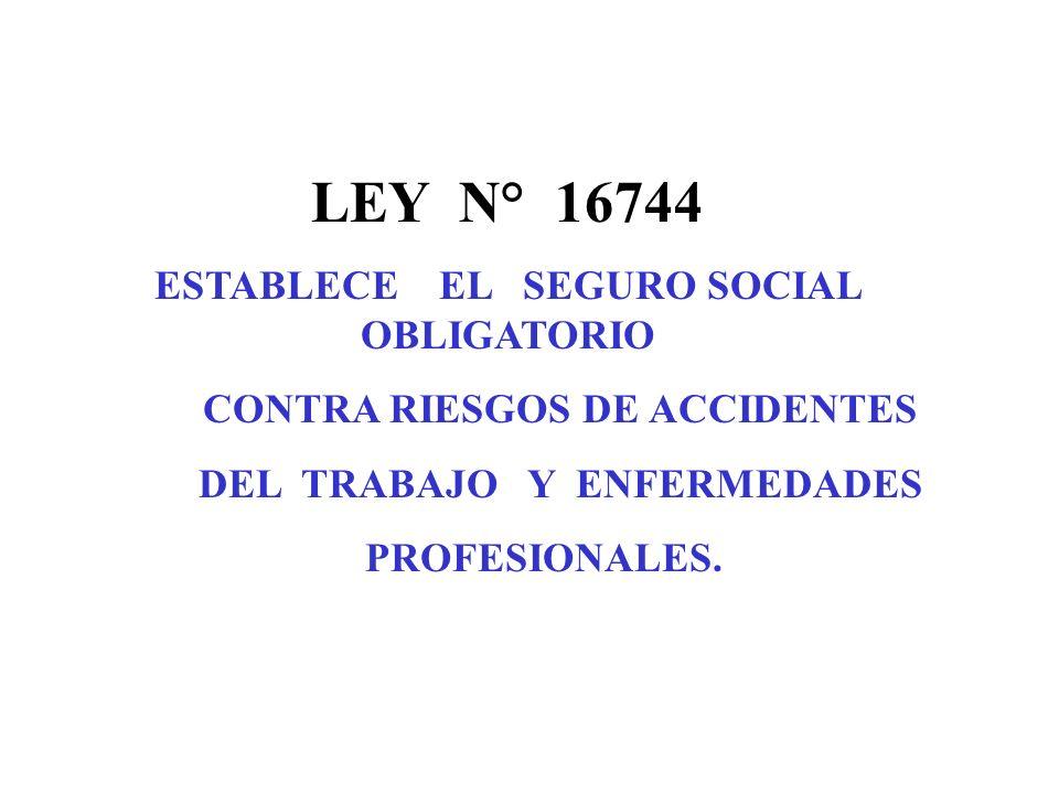 PRESTACIONES DE LA LEY 16744 LEY 16744 PREVENTIVAS Prevención de Riesgos de Accidentes del Trabajo y Enfermedades Profesionales.