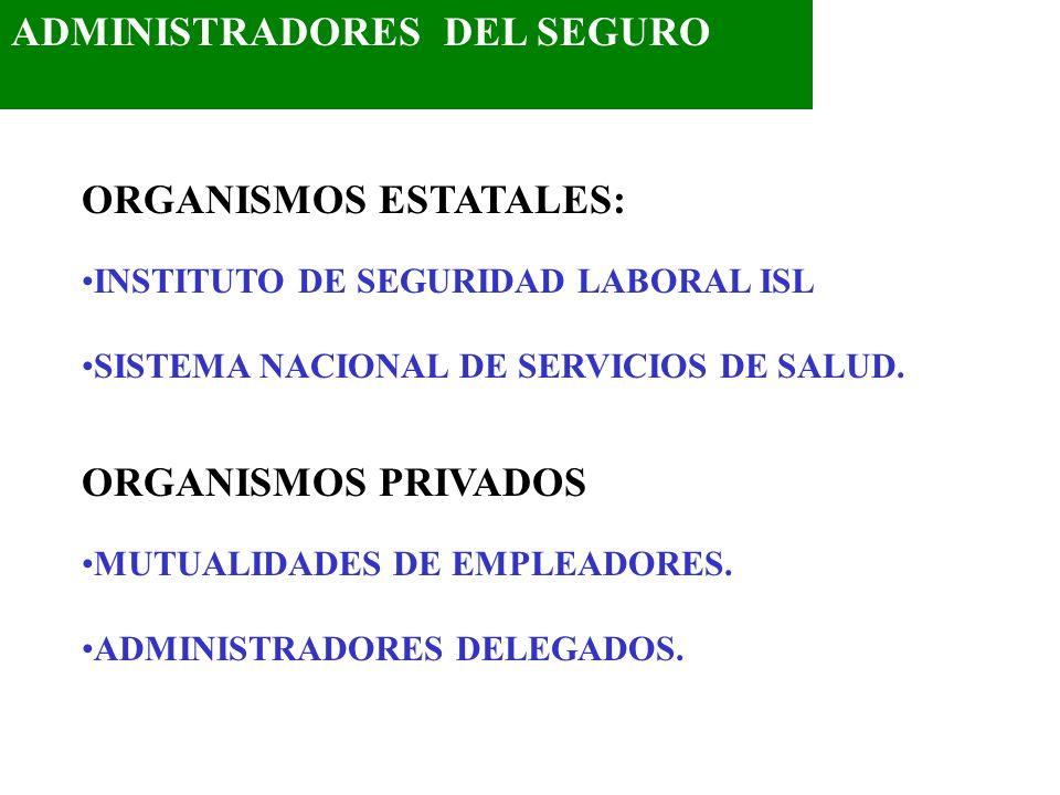 ADMINISTRADORES DEL SEGURO ORGANISMOS ESTATALES: INSTITUTO DE SEGURIDAD LABORAL ISL SISTEMA NACIONAL DE SERVICIOS DE SALUD.