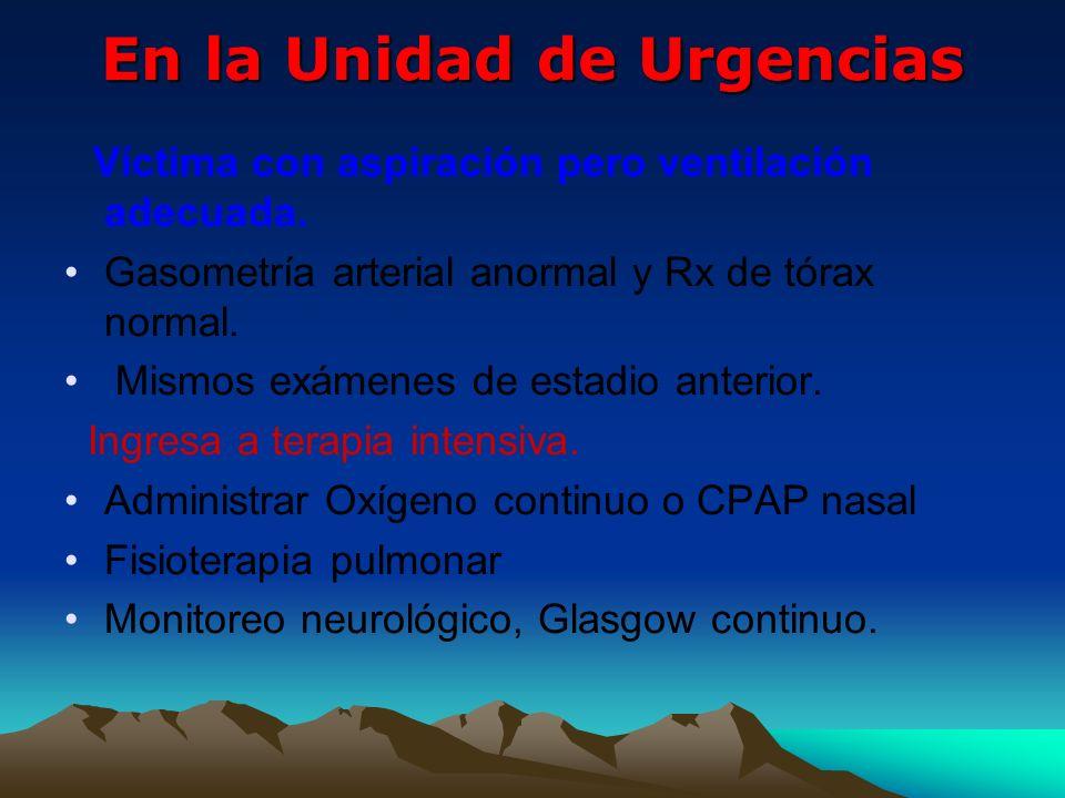 En la Unidad de Urgencias Víctima con aspiración pero ventilación adecuada. Gasometría arterial anormal y Rx de tórax normal. Mismos exámenes de estad
