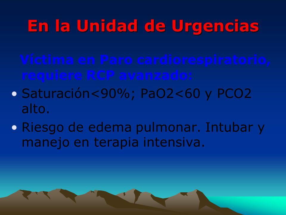 En la Unidad de Urgencias Víctima en Paro cardiorespiratorio, requiere RCP avanzado: Saturación<90%; PaO2<60 y PCO2 alto. Riesgo de edema pulmonar. In