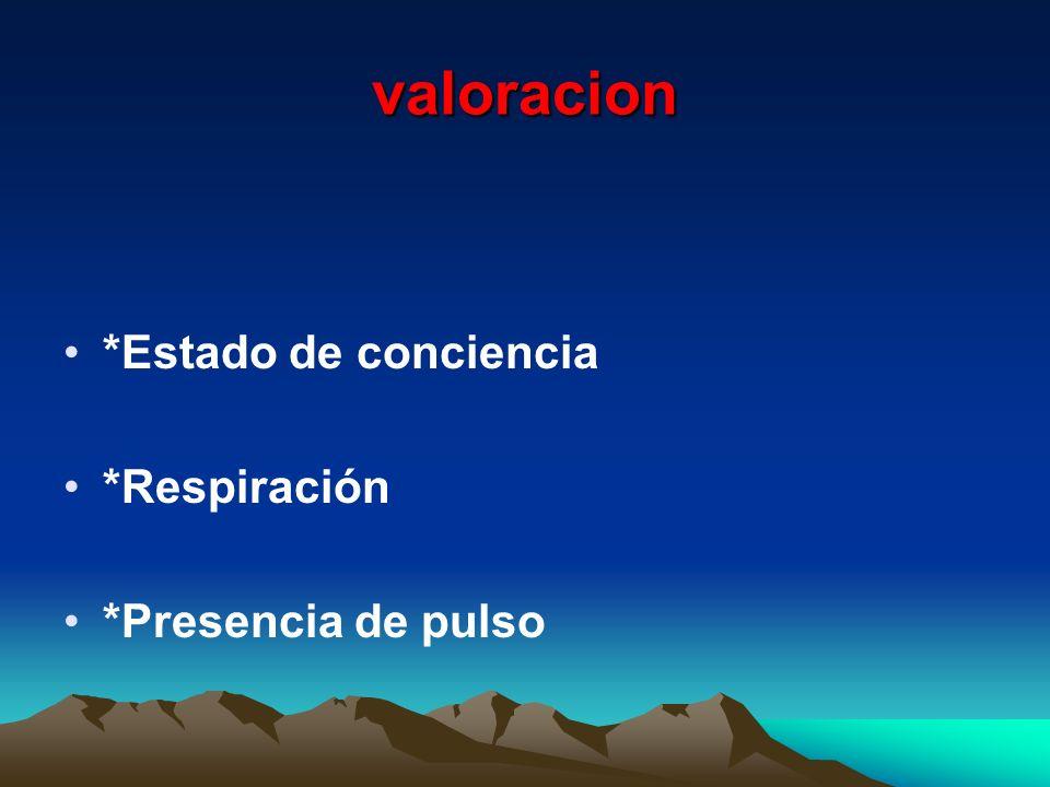 valoracion *Estado de conciencia *Respiración *Presencia de pulso