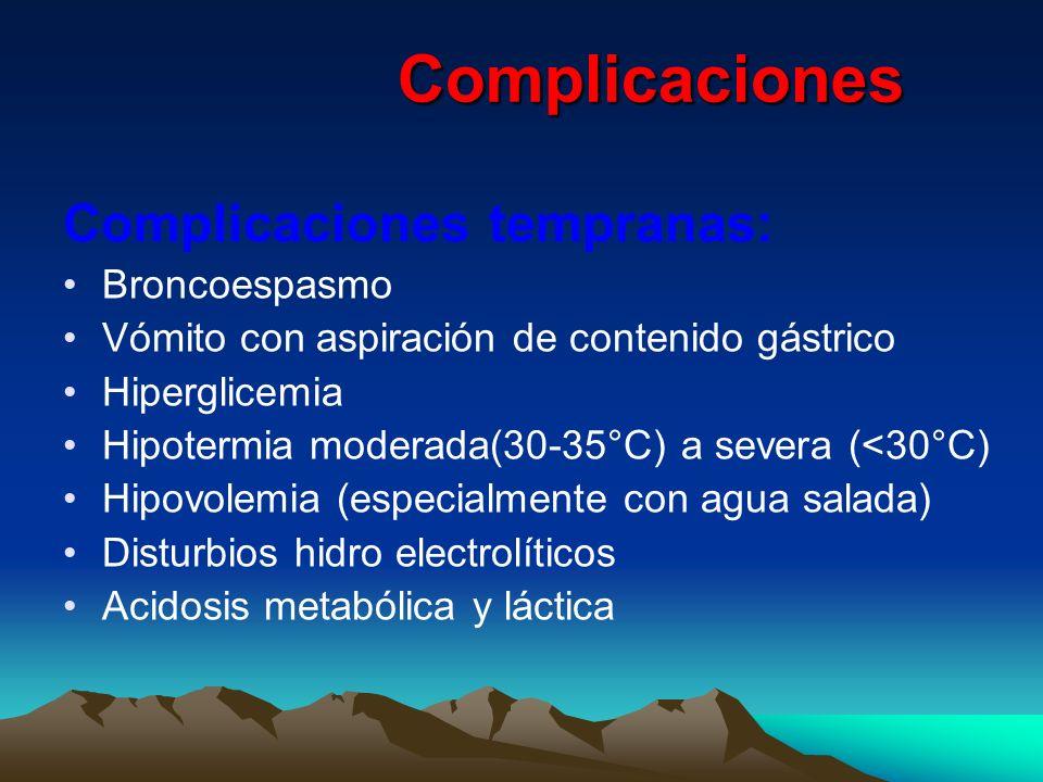 Complicaciones Complicaciones Complicaciones tempranas: Broncoespasmo Vómito con aspiración de contenido gástrico Hiperglicemia Hipotermia moderada(30