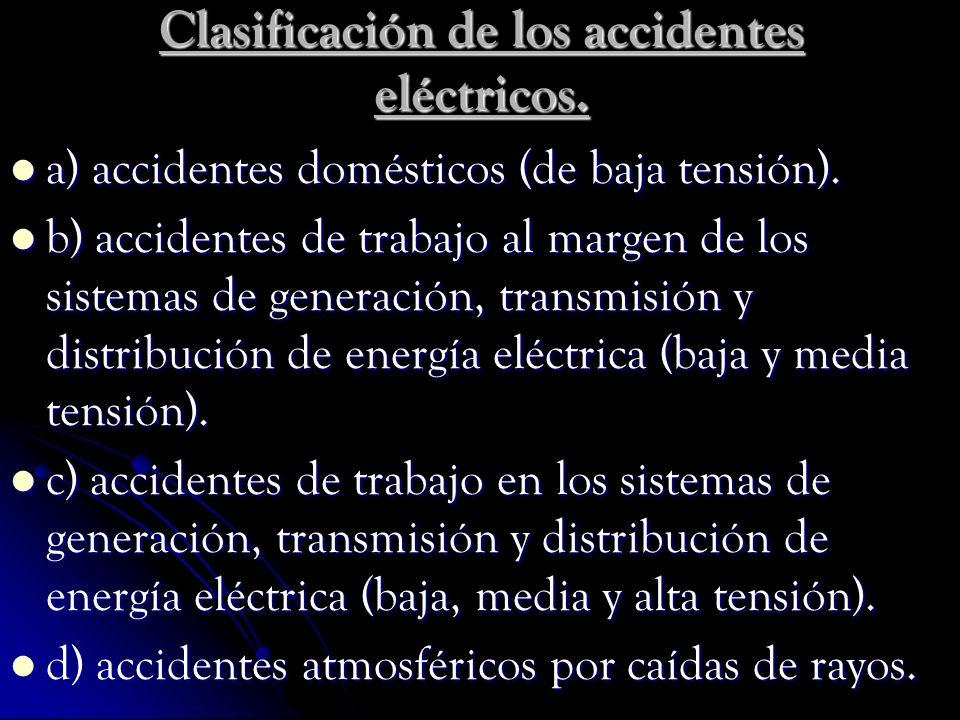 Clasificación de los accidentes eléctricos. a) accidentes domésticos (de baja tensión). a) accidentes domésticos (de baja tensión). b) accidentes de t