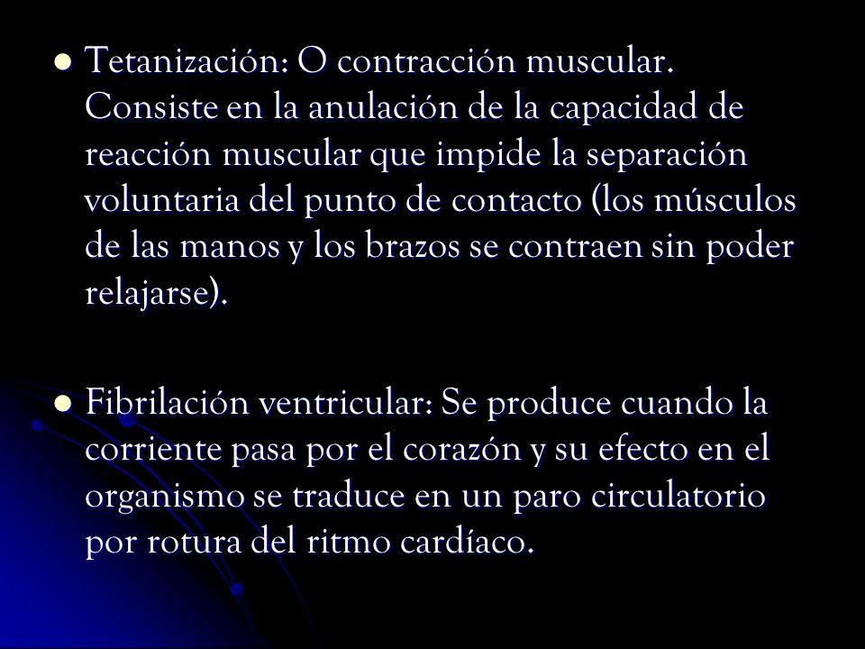 Tetanización: O contracción muscular. Consiste en la anulación de la capacidad de reacción muscular que impide la separación voluntaria del punto de c