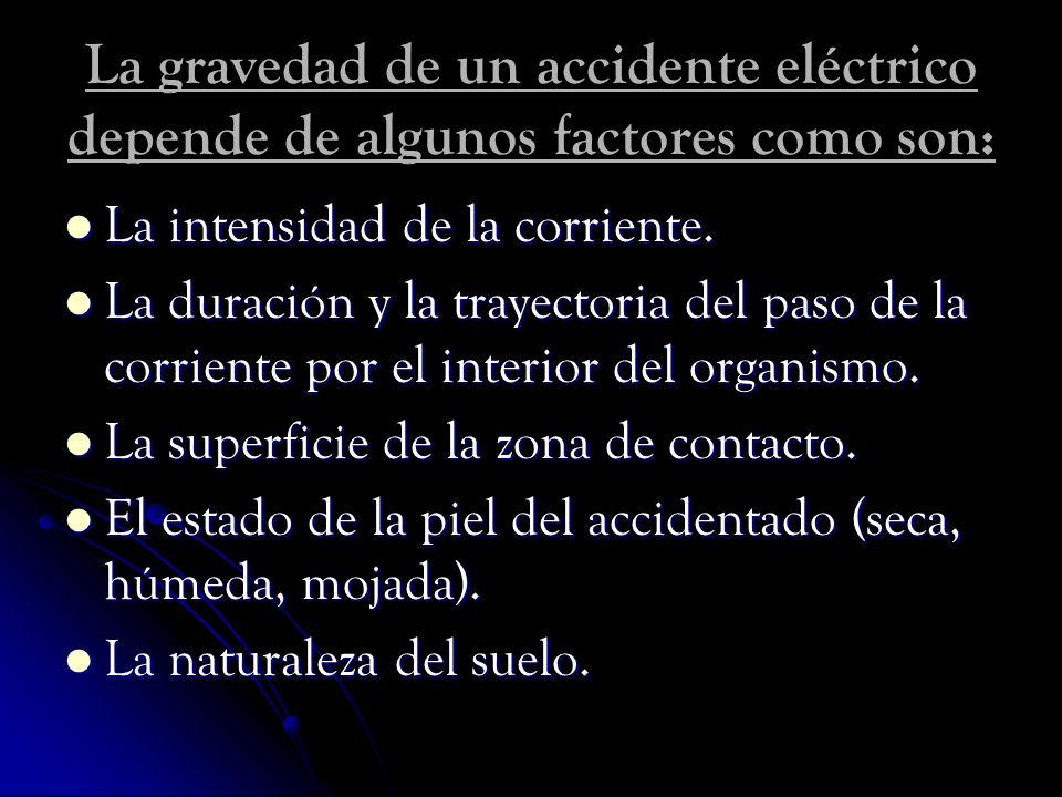 La gravedad de un accidente eléctrico depende de algunos factores como son: La intensidad de la corriente. La intensidad de la corriente. La duración