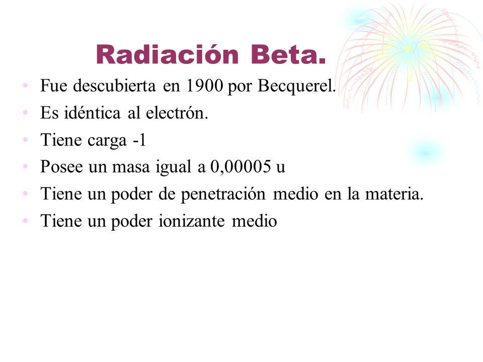 Radiación Beta. Fue descubierta en 1900 por Becquerel. Es idéntica al electrón. Tiene carga -1 Posee un masa igual a 0,00005 u Tiene un poder de penet