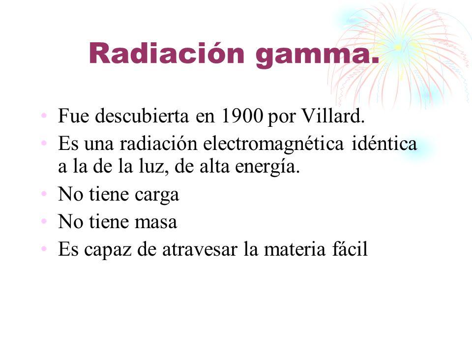 Radiación gamma. Fue descubierta en 1900 por Villard. Es una radiación electromagnética idéntica a la de la luz, de alta energía. No tiene carga No ti