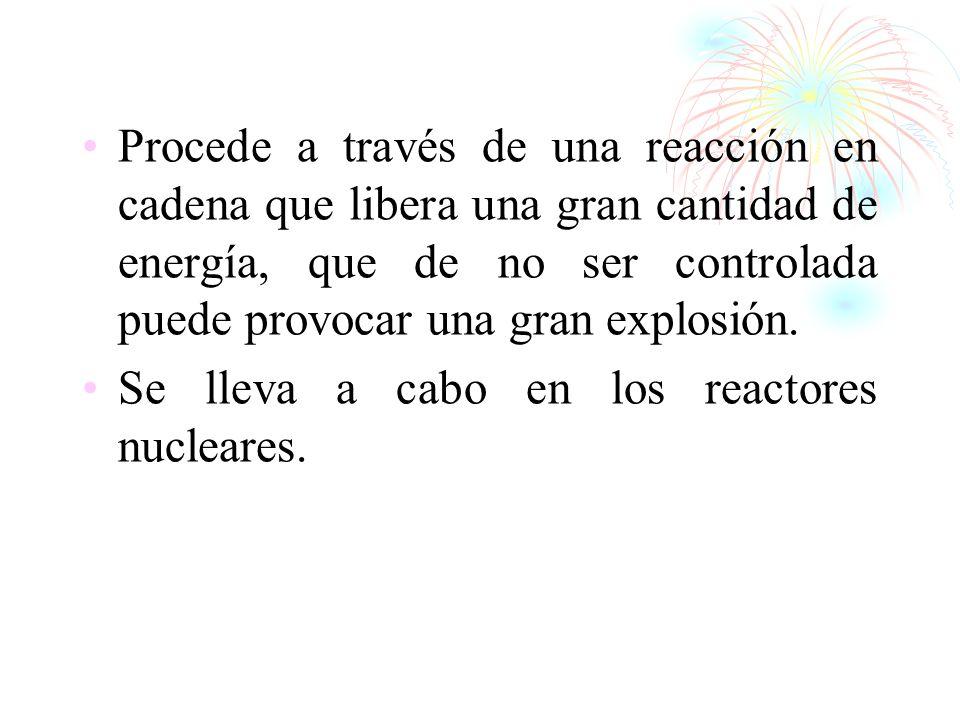Procede a través de una reacción en cadena que libera una gran cantidad de energía, que de no ser controlada puede provocar una gran explosión. Se lle