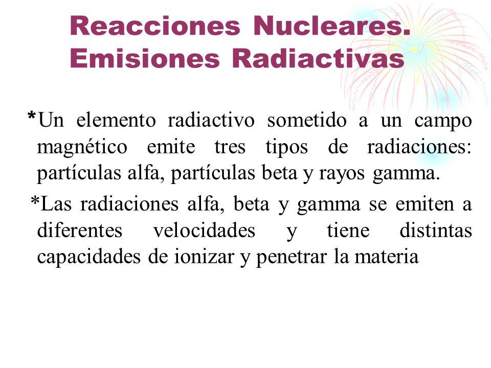 Reacciones Nucleares. Emisiones Radiactivas * Un elemento radiactivo sometido a un campo magnético emite tres tipos de radiaciones: partículas alfa, p
