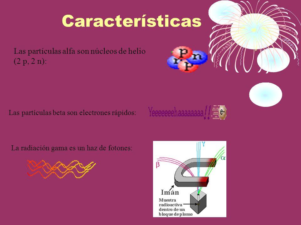 Características Las partículas beta son electrones rápidos: Las partículas alfa son núcleos de helio (2 p, 2 n): La radiación gama es un haz de fotone