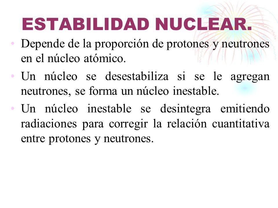 ESTABILIDAD NUCLEAR. Depende de la proporción de protones y neutrones en el núcleo atómico. Un núcleo se desestabiliza si se le agregan neutrones, se