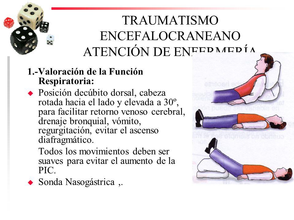 TRAUMATISMO ENCEFALOCRANEANO ATENCIÓN DE ENFERMERÍA 1.-Valoración de la Función Respiratoria: u Posición decúbito dorsal, cabeza rotada hacia el lado