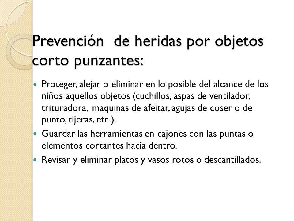 Prevención de heridas por objetos corto punzantes: Proteger, alejar o eliminar en lo posible del alcance de los niños aquellos objetos (cuchillos, asp