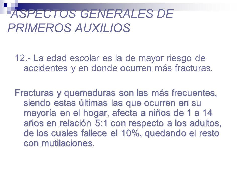 ASPECTOS GENERALES DE PRIMEROS AUXILIOS 13.- En menores de un año los accidentes son la primera causa de muerte y en su mayoría son por asfixia (180/100.000 hbtes.).