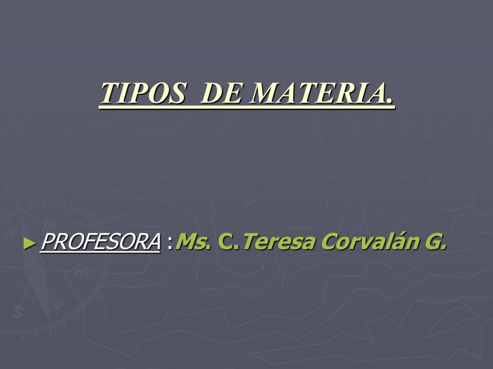 TIPOS DE MATERIA. PROFESORA :Ms. C.Teresa Corvalán G. PROFESORA :Ms. C.Teresa Corvalán G.