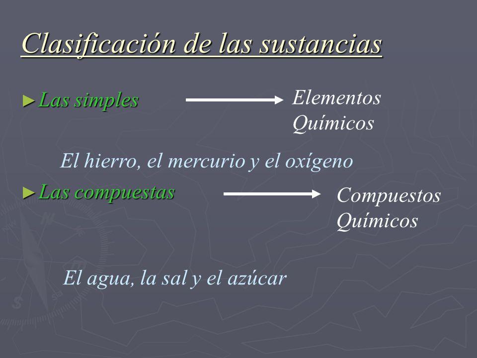 Clasificación de las sustancias Las simples Las simples Las compuestas Las compuestas Elementos Químicos Compuestos Químicos El hierro, el mercurio y