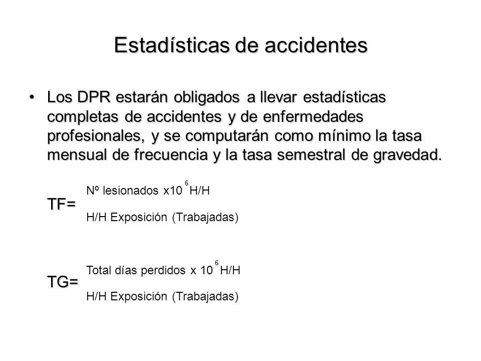 Estadísticas de accidentes Los DPR estarán obligados a llevar estadísticas completas de accidentes y de enfermedades profesionales, y se computarán co