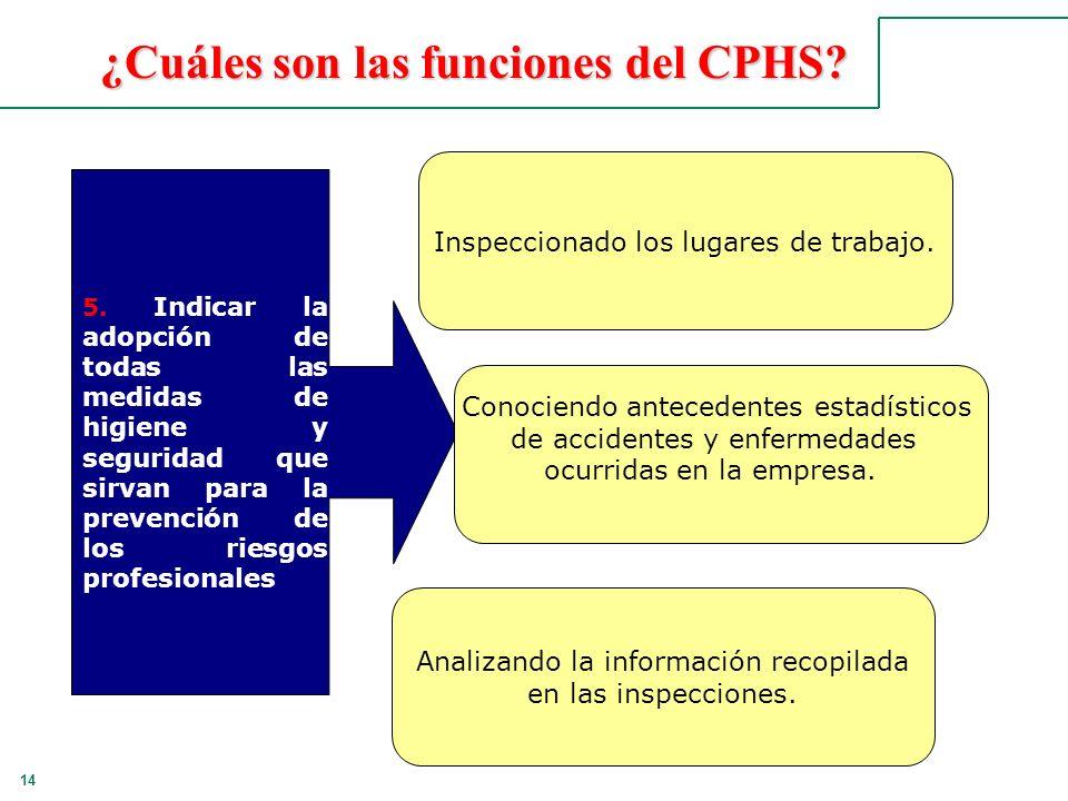 14 ¿Cuáles son las funciones del CPHS? 5. Indicar la adopción de todas las medidas de higiene y seguridad que sirvan para la prevención de los riesgos