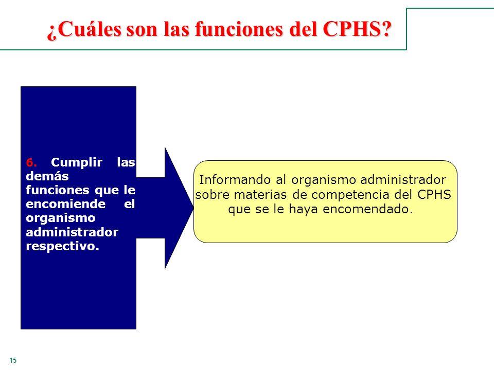 15 ¿Cuáles son las funciones del CPHS? 6. Cumplir las demás funciones que le encomiende el organismo administrador respectivo. Informando al organismo
