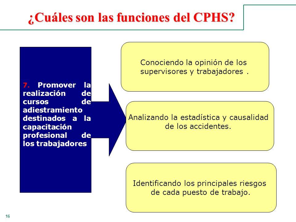16 ¿Cuáles son las funciones del CPHS? 7. Promover la realización de cursos de adiestramiento destinados a la capacitación profesional de los trabajad