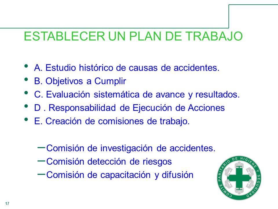 17 ESTABLECER UN PLAN DE TRABAJO A.Estudio histórico de causas de accidentes.