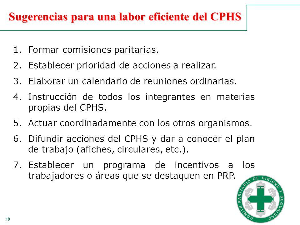 18 Sugerencias para una labor eficiente del CPHS 1.Formar comisiones paritarias. 2.Establecer prioridad de acciones a realizar. 3.Elaborar un calendar