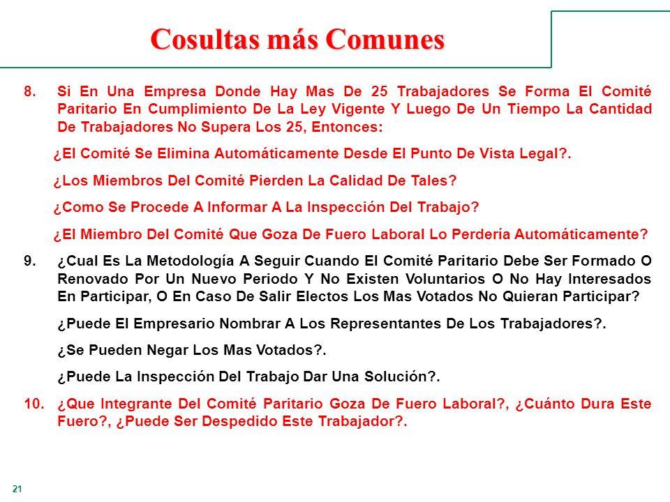 21 Cosultas más Comunes 8.